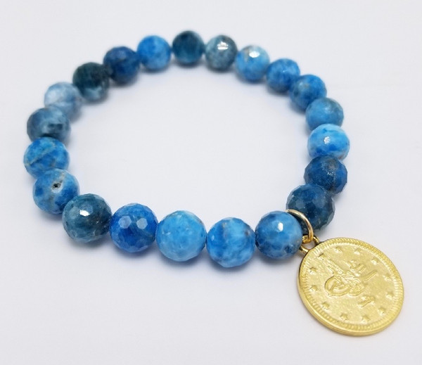 Apatite and Matte Gold Coin Stretch Bracelet