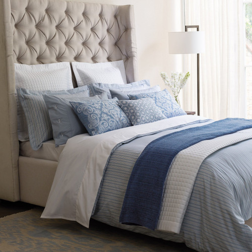 Fable Darcy Stripe Duvet in Sky Blue