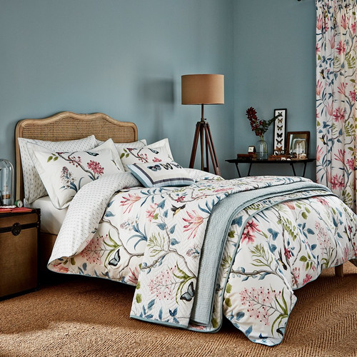 Sanderson Clementine Bedding in Pink and Duck Egg