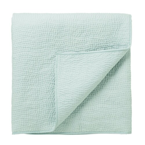 Sanderson Clementine Hand Quilted Throw, Duck Egg