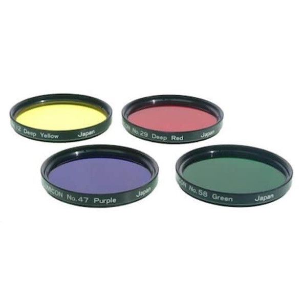 """Lumicon Color Filter Set - #12 Deep Yellow, #29 Dark Red, #47 Violet, #58 Green 2""""-1"""
