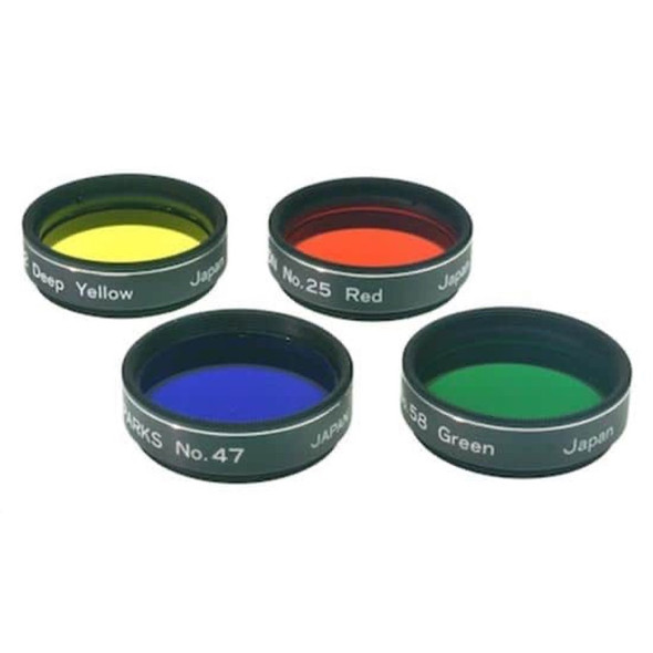 """Lumicon Color Filter Set - - #15 Dark Yellow, #25 Red, #47 Violet, #58 Green 1.25""""-1"""