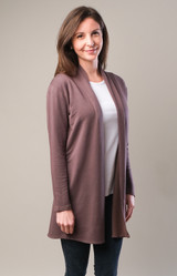 Garment-Dyed Open Front Cardigan