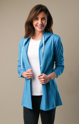 Hooded Shirred Sleeve Tunic Jacket - Aster