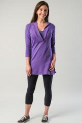 Deep-Vee Hoodie - 3/4 Sleeve - Purple