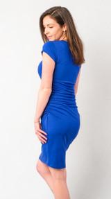 Jersey Ruched V Neck Dress