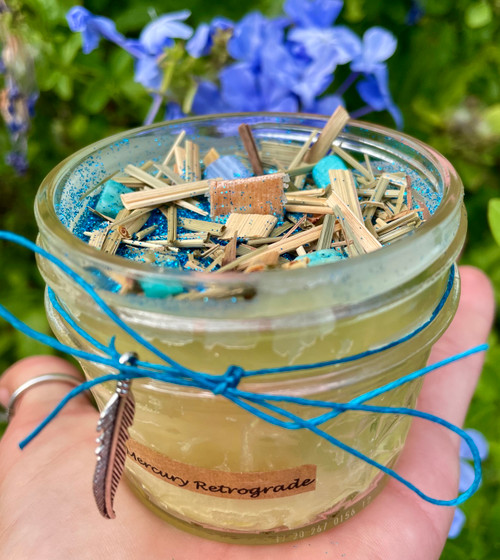 Mercury Retrograde beeswax wood wick candle