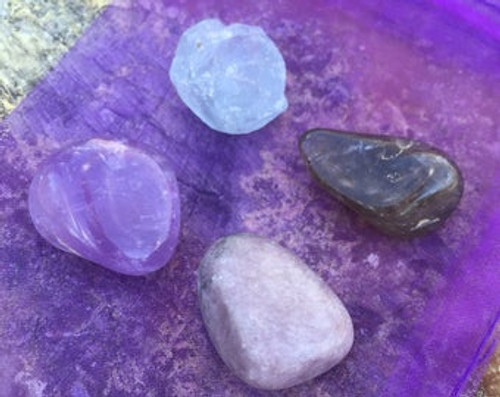 Amethyst, Celestite,  lepidolite, smoky quartz anxiety set