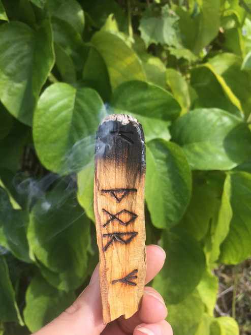 Wood burned runes, palo santo smudge