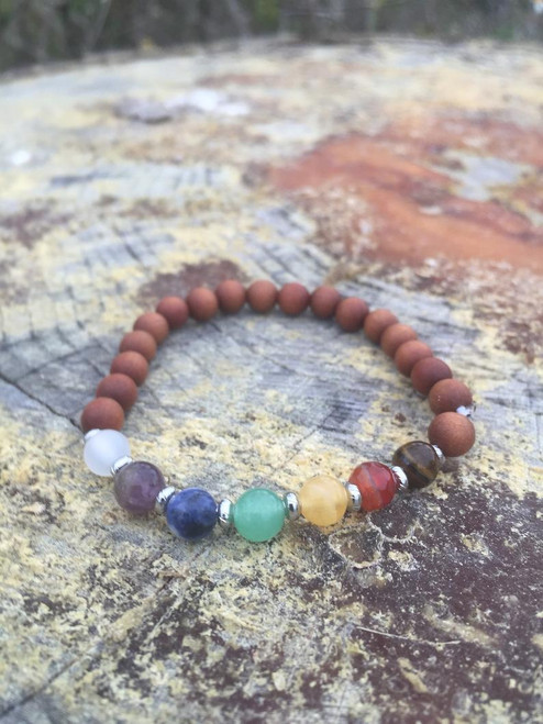 Chakra bracelet with genuine Australian sandalwood