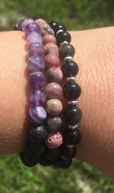 custom gemstone lava stone bracelets