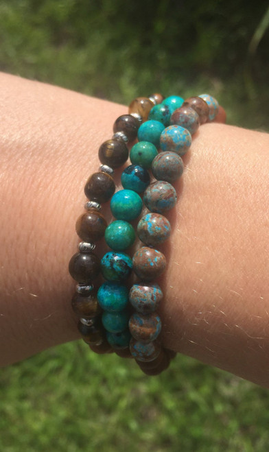 Custom Gemstone and Australian sandalwood bracelet