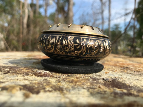 Brass Incense Burner with wood disk