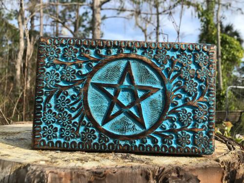 Blue pentacle wood box