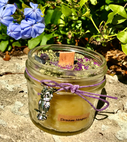 Dream Magic beeswax wood wick candle