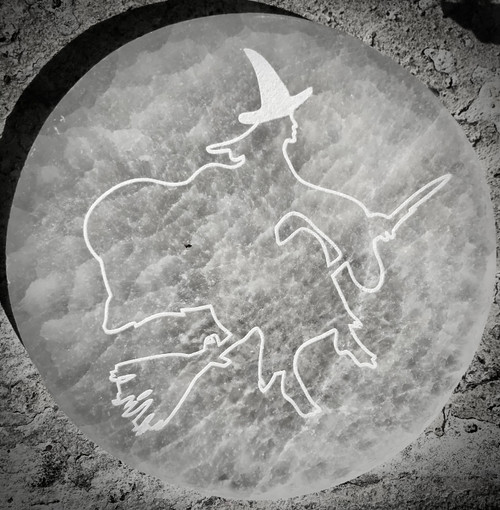 Witch Etched Selenite Plate