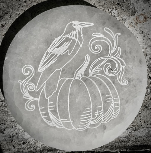 Raven and Pumpkin Etched Selenite Plate