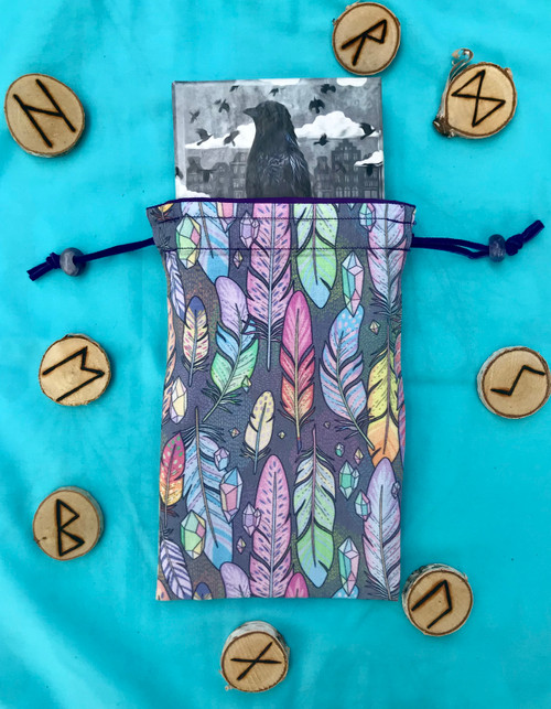 Feathers and Crystals Divine Light Divination Bag
