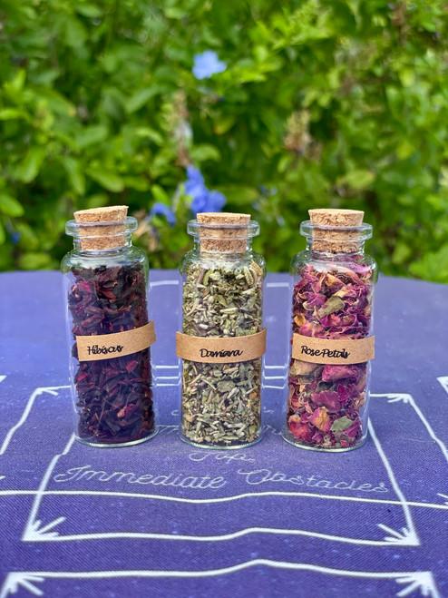 Love Herb Set - Rose Petals, Damiana, Hibiscus