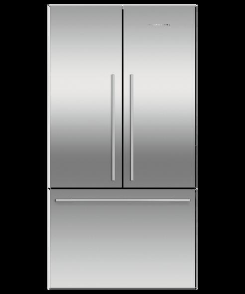 Fisher & Paykel, RF610ADX5, Freestanding 90cm 614 Litre French Door Refrigerator Freezer, Silver