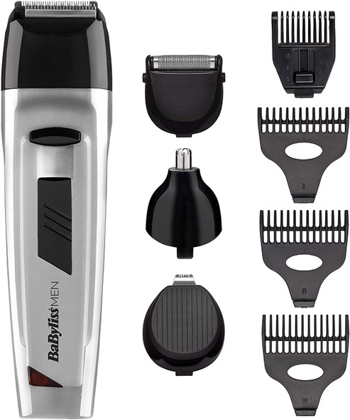 BABYLISS, 7056NU, Men 8 in 1 All Over Grooming Kit, Silver