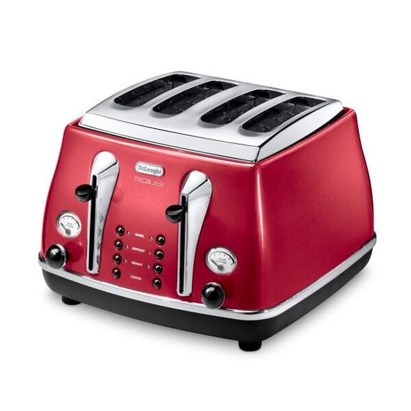 De'Longhi, CTOM4003.R, Icona Micalite 4 Slice Toaster, Red
