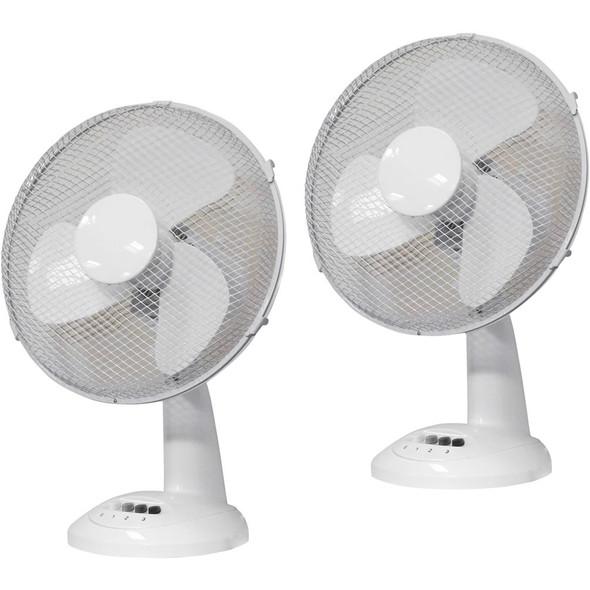 Prem-I-Air, EH1523, 12 Inch Oscillating Desktop Fans (Twin pack), White