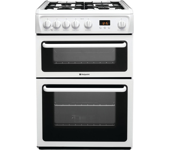 Hotpoint, HAG60P, Gas 60cm Freestanding Double Cooker, White