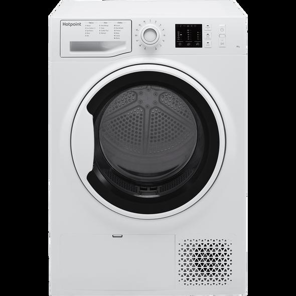 Hotpoint, NTM1081WK, 8kg Freestanding Condenser Tumble Dryer With Heat Pump Tech, White
