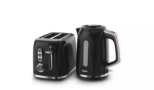 Breville, VKT221+VTR001, Bold Textured Kettle & Toaster Set, Black