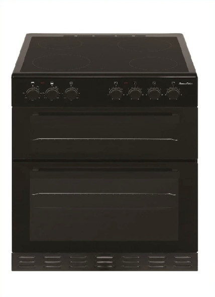 Powerpoint, P06C2S1BL, 60cm Double Cavity Cooker With Ceramic Hob, Black