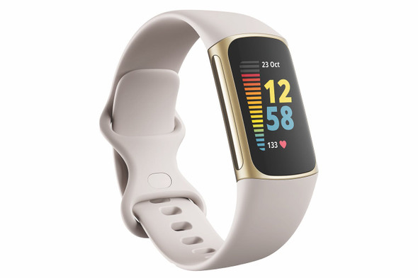 Fitbit, FB421GLWT, Charge 5, Lunar White/Soft Gold