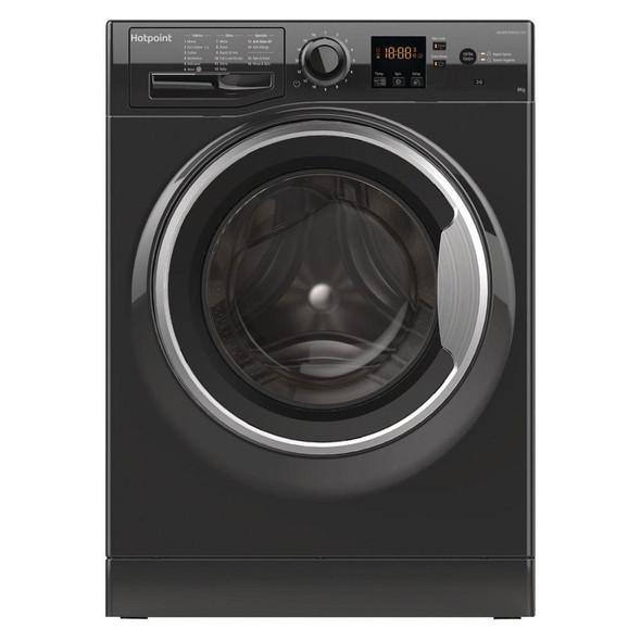 Hotpoint, NSWM843CBSUK, 8kg 1400 Spin Washing Machine, Black