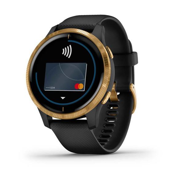 Garmin, 010-02173-32, Venu Smart Watch, Black/Gold