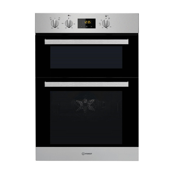 INDESIT 39/71L Electric Double Oven with Easy To Clean - IDD6340IX-Briscoes