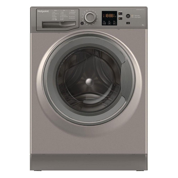 Hotpoint, NSWM843CGG, 8kg 1400 Spin Washing Machine, Grey
