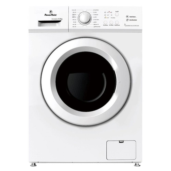 Powerpoint, P35106SKW, 6kg Load 1000 Spin Washing Machine, White