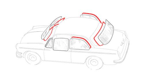 Notchback Window Rubber Kit American Style - 4 Seals