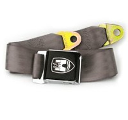 2-Point Bus Seat Belt with Black Buckle - Grey