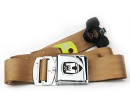 3-Point Seat Belt with Chrome Buckle - Tan