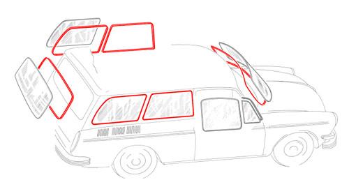 Squareback Window Rubber Kit - American Style; 6 Seals