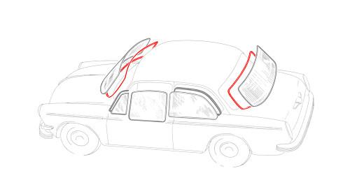 Notchback Window Rubber Kit American Style - 2 Seals