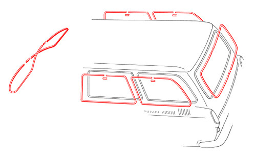 Squareback Window Molding Kit - 6 Piece