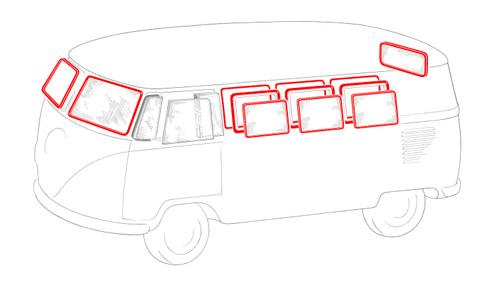 MICRO BUS WINDOW RUBBER KIT 1955-1963
