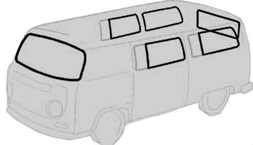 RUBBER KIT - STANDARD BUS NO GROOVE FOR TRIM 68-79
