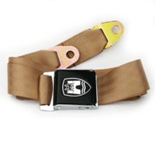 3-Point Seat Belt with Black Buckle - Tan