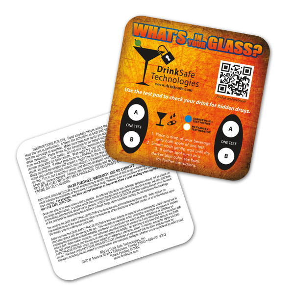 Date Rape Drug Test Coasters - Orange (1 Coaster / 2 Tests)