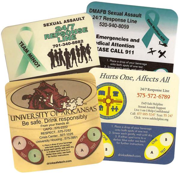 Promotional Branded Date Rape Drug Detection Coasters