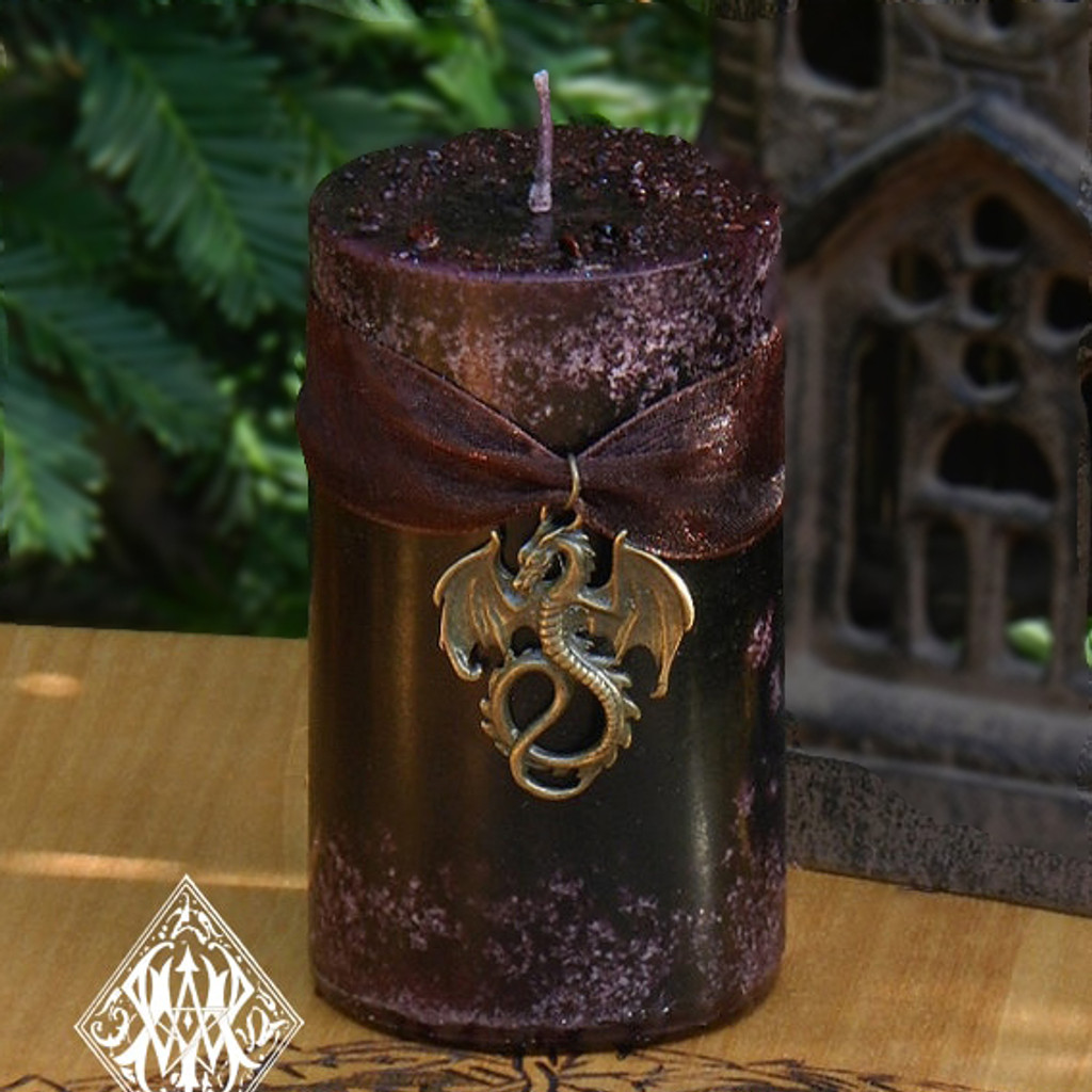 Dragons Blood Pillar Candles with Pure Golden Seal Resins