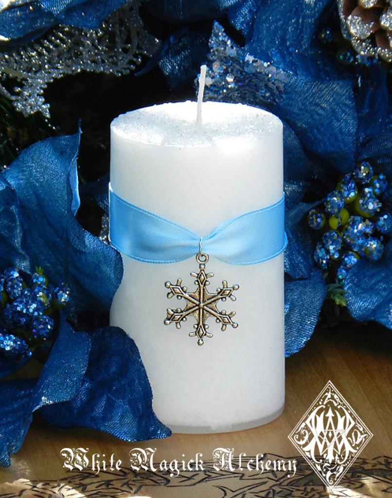 Diamond Snowflake Holiday Pillar Candles with Warm Winter Sugared Vanilla